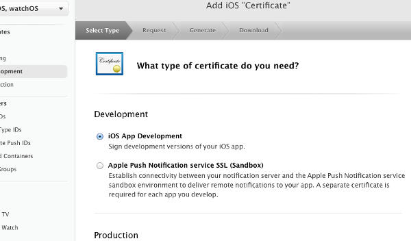 "select type|Add iOS ""Certificate"""