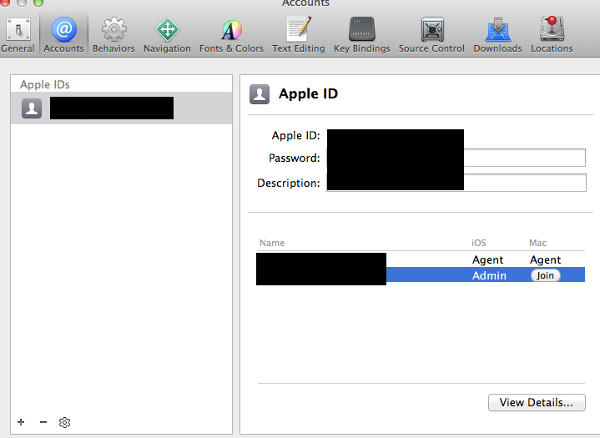 Accounts|preference|xcode